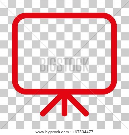 Presentation Screen vector pictogram. Illustration style is flat iconic red symbol on a transparent background.