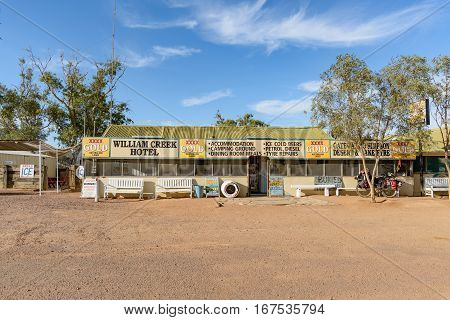 WILLIAM CREEK AUSTRALIA - OCTOBER 24 2016: The William Creek hotel bar campsite and garage on the Oodnadatta Track in South Australia.