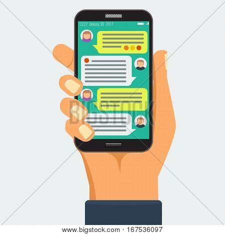 Chatting with chatbot on phone, online conversation with texting message flat vector concept.