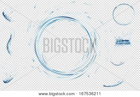Transparent water splashes drops circle and crown from falling into the water in light blue colors. Vector 3d illustration. Purity freshness concept. Website abstract water background set