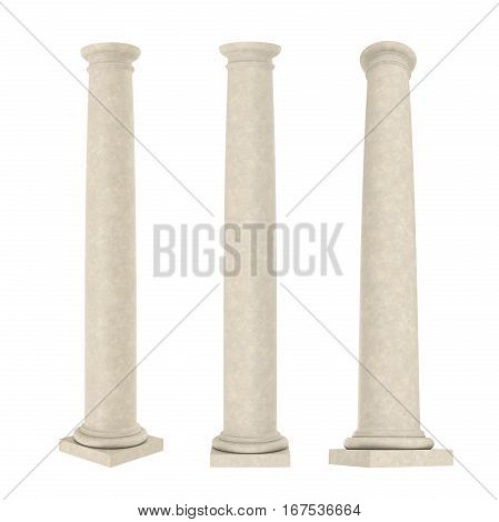 Classic Columns isolated on white background. 3D render