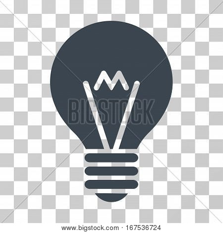Hint Bulb vector pictogram. Illustration style is flat iconic smooth blue symbol on a transparent background.