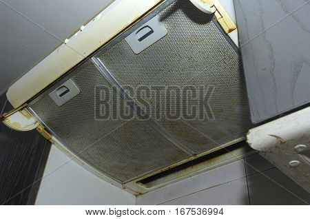 A close up Dirty extractor of a kitchen