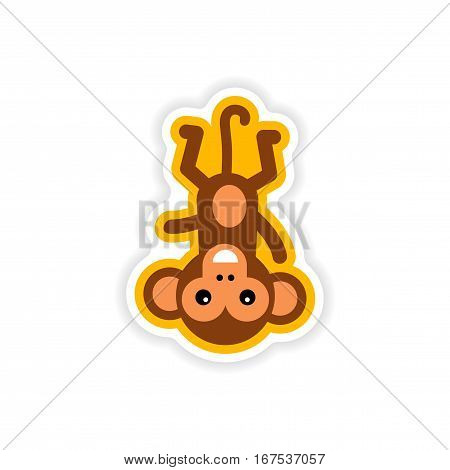 paper sticker on white background small chimpanzee