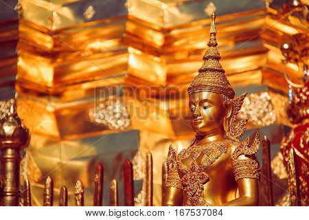 Golden Buddha Statue with Thai Ornaments Dress in Chiang Mai Thailand