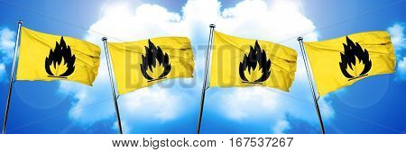 Flammable hazard sign flag, 3D rendering