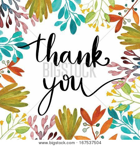 Thank you handwriting message with watercolor botanical frame