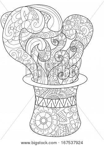 Magician hat with steam and smoke coloring book for adults vector illustration magic. Anti-stress coloring for adult headdress. Zentangle style. Black and white lines listen Top hat. Lace pattern