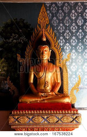 Golden Buddha Statue in the Attitude of Meditation in Wat Phra That Doi Suthep Chiang Mai Thailand