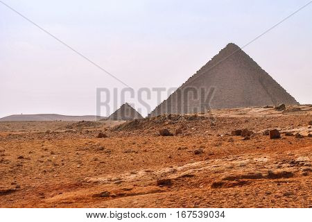 The famous pyramids of Giza in Cairo, Egypt
