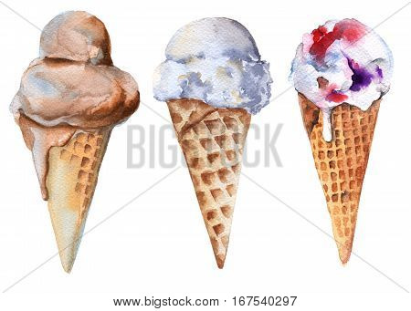 Set of ice cream in a cone. Chocolate, vanilla and fruit. Isolated on white background. Watercolor illustration