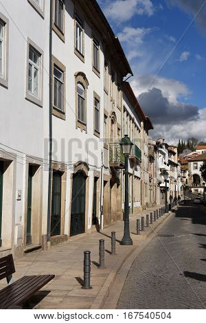 Street in the city center of Braganca Tras-os-Montes Portugal