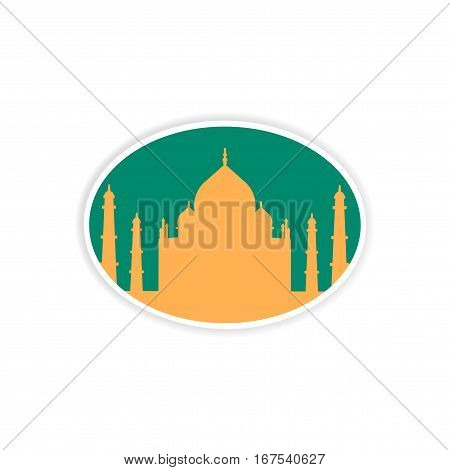 paper sticker Indian Taj Mahal on white background