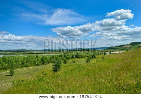 Natural landscape, view of the field from the top of a hill in Russia