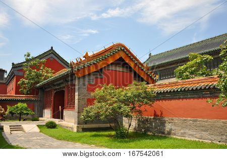 Pavilion in the Shenyang Imperial Palace Mukden Palace, Shenyang, Liaoning Province, China. Shenyang Imperial Palace  UNESCO world heritage site built in 400 years ago.