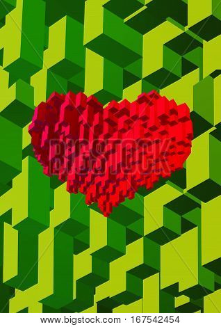 Isometric cube block combined to red heart symbol shape on green background