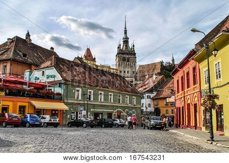Sighisoara, Romania - June 15, 2011: View of the Clock Tower in Sighisoara, Transylvania, Romania.
