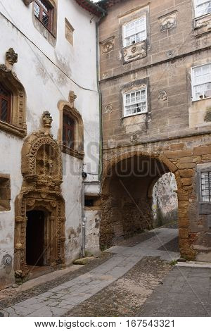 entrance of old town Quarrel tower Coimbra Beiras region Portugal