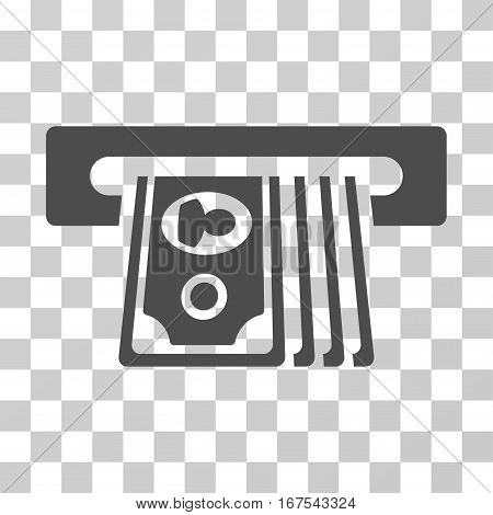 ATM Insert Cash icon. Vector illustration style is flat iconic symbol gray color transparent background. Designed for web and software interfaces.