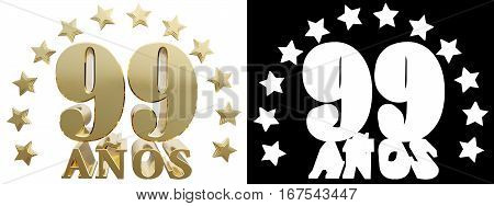 Golden digit ninety nine and the word of the year decorated with stars. Translated from the Spanish. 3D illustration