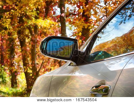 Red autumn fall leaves refelected in side of modern car and mirror to illustrate drive to leaf peep to see the season