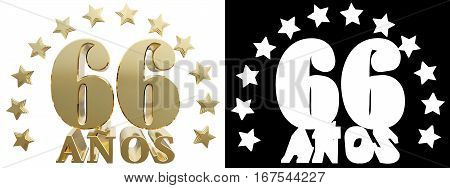 Golden digit sixty six and the word of the year decorated with stars. Translated from the Spanish. 3D illustration