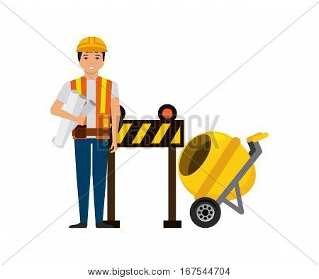 construction worker with barrier over white background. under construction concept. colorful design. vector illustration
