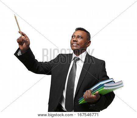 Confident Indian teacher on white background