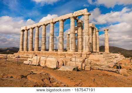 Temple of Poseidon at Cape Sounion Attica Greece on January 29th 2017. Horizontal