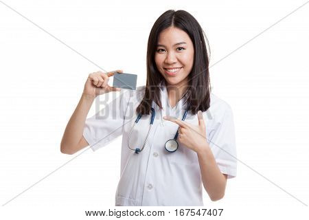 Asian Young Female Doctor Point To Blank Card.