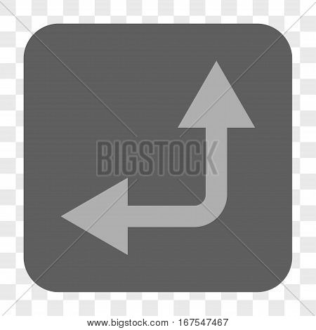 Bifurcation Arrow Left Up interface toolbar button. Vector icon style is a flat symbol in a rounded square button light gray and gray colors chess transparent background.