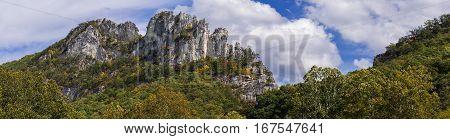Panorama of the rocky mountain top of Seneca Rocks in West Virginia