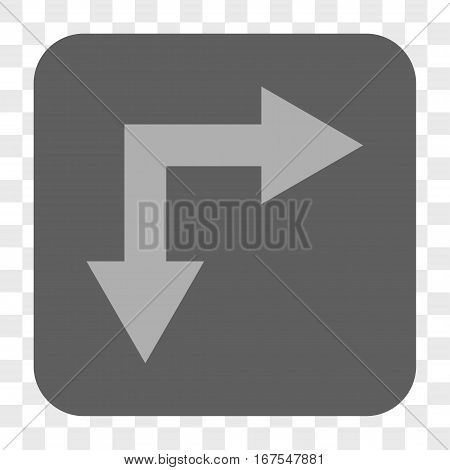 Bifurcation Arrow Right Down interface toolbar button. Vector icon style is a flat symbol inside a rounded square button light gray and gray colors chess transparent background.