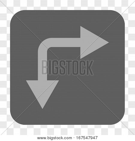 Bifurcation Arrow Right Down interface toolbar button. Vector icon style is a flat symbol in a rounded square button light gray and gray colors chess transparent background.