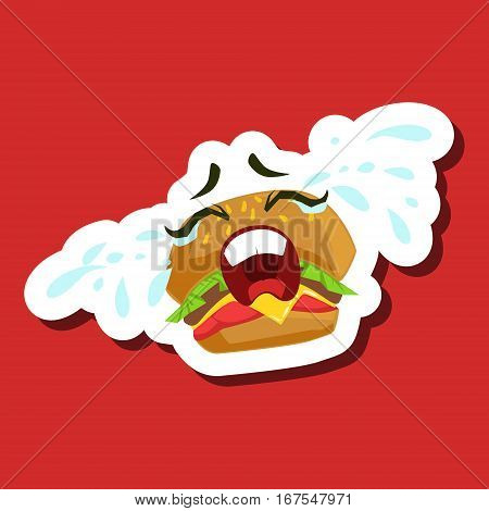 Burger Sandwich Crying Out Loud, Cute Emoji Sticker On Red Background. Humanized Fast Food Character Isolated Icon In Colorful Cartoon Design.