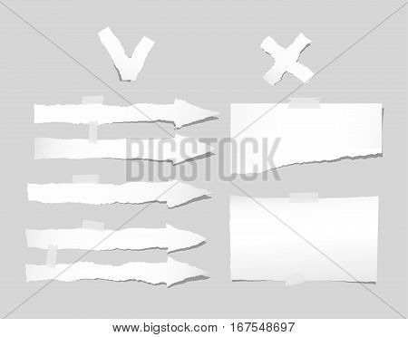 Torn note, notebook, copybook paper sheets, arrow strips stuck on gray background.