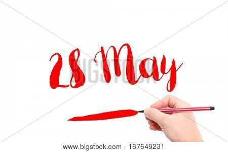 28 May written by hand on a white background
