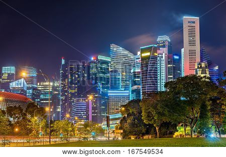 Skyline of Singapore Central Business District at night