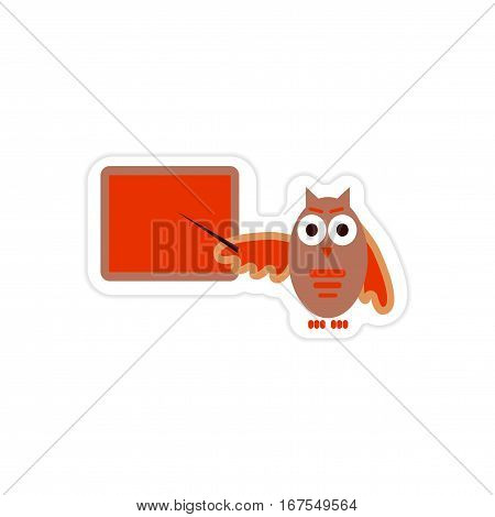 stylish paper sticker on white background owl teacher