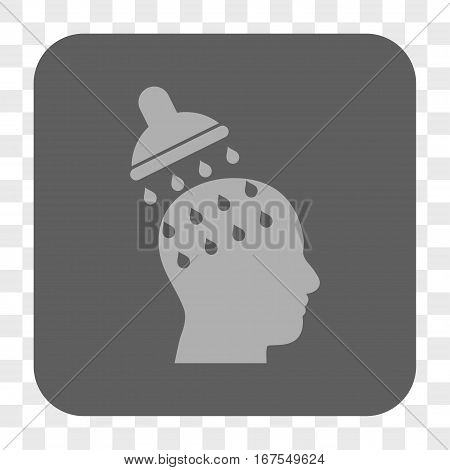 Brain Washing interface toolbar button. Vector icon style is a flat symbol on a rounded square button light gray and gray colors chess transparent background.