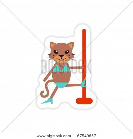 stylish paper sticker on white background  cat striptease