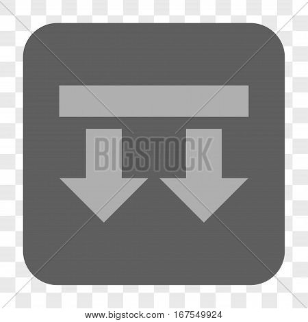 Bring Down interface toolbar button. Vector icon style is a flat symbol inside a rounded square button light gray and gray colors chess transparent background.