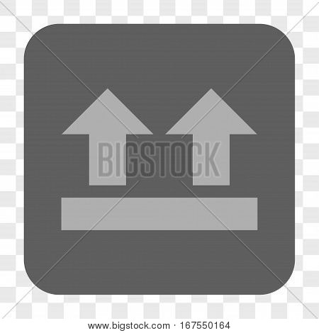 Bring Up interface toolbar button. Vector icon style is a flat symbol in a rounded square button light gray and gray colors chess transparent background.