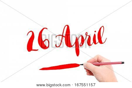 26 April written by hand on a white background