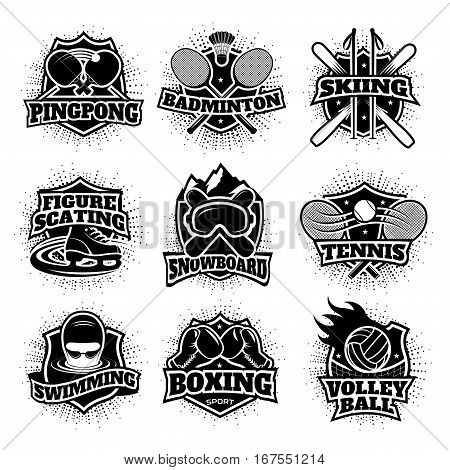 Monochrome sport logos set of different disciplines with various equipment isolated vector illustration