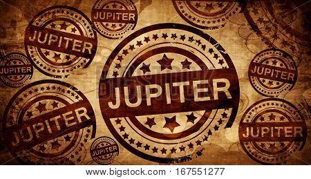 jupiter, vintage stamp on paper background