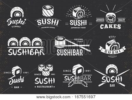 White traditional japanese food emblems set with sushi and chopsticks on dark background isolated vector illustration