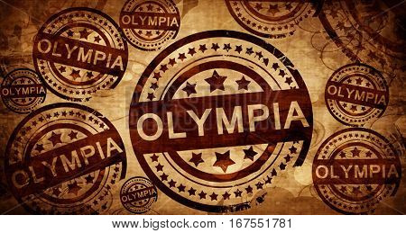 olympia, vintage stamp on paper background