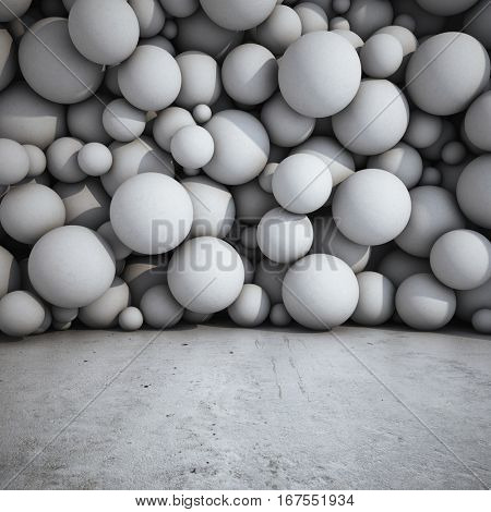 Architectural design of walls from concrete spheres. 3D illustration.