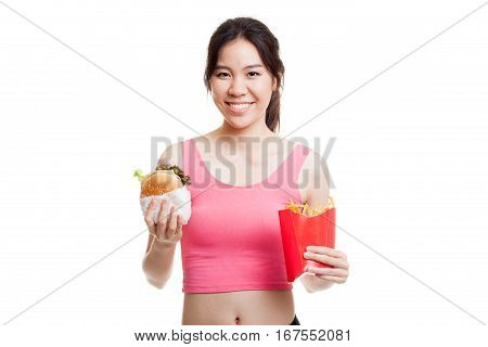 Beautiful Asian Healthy Girl With French Fries And Hamburger.